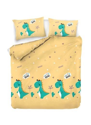EnLora Home %100 Doğal Pamuk Nevresim Seti Çift Kişilik Little Dino Sarı Sarı